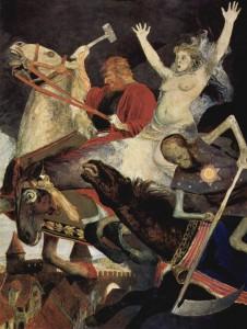 Arnold Böklin. La guerre. 1896. Staatliche Kunstsammlungen Gemäldegalerie. Dresde