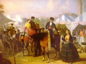 En le Feria de Sevilla (A la fête de Seville ) Cabral (Aguado Bejarano Manuel) 1866. Musée Carmen Thyssen à Malaga.