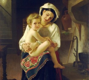 Bouguereu William-Adolphe- Jeune femme admirant son enfant. 1871. Coll. particulière.