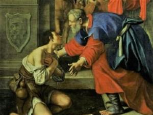 Le retour du fils prodigue, par Lucio Massari. 1614. Pinacothèque de Bologne. Italie